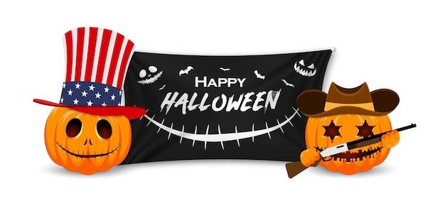 Happy halloween pumpkins mit schwarzer flagge pumpkin usa nationalhut und kürbis sheriff mit gewehr