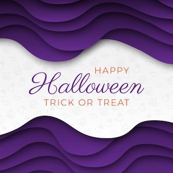 Happy halloween quadratische fahnenschablone mit bunt geschnittenen schichten des papierschnitts
