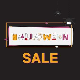 Happy halloween sale banner mit schriftzug.