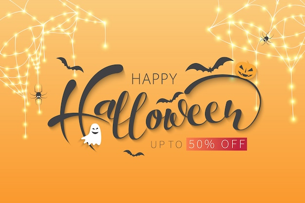 Happy halloween sale banner oder party einladung.