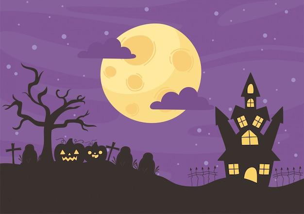 Happy halloween, schloss friedhof kürbisse trockener baum nacht mond trick oder behandeln party feier vektor-illustration