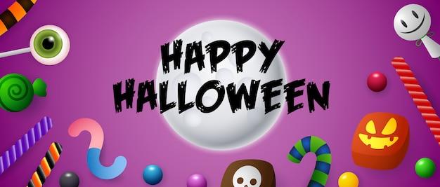 Happy halloween schriftzug auf mond mit süßigkeiten und bonbons