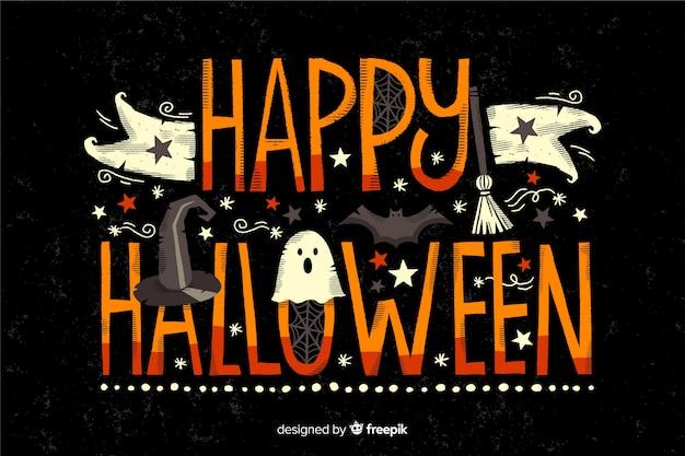 Happy halloween schriftzug auf schwarzem hintergrund
