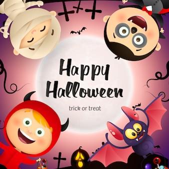 Happy halloween schriftzug, fledermaus, kinder in monster kostümen