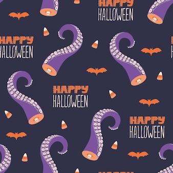 Happy halloween-schriftzug, gruselige tentakel, fledermaus-silhouette und nahtloses muster von süßigkeitenmais. niedlicher gespenstischer nachtischentwurf. vektortextiltapete im flachen cartoon-stil des gekritzels. gruseliger feiertagshintergrund
