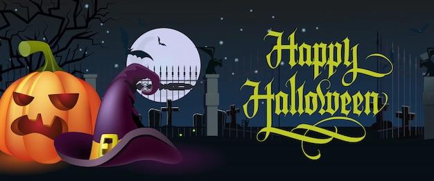 Happy halloween schriftzug. hexenhut und kürbis am friedhof
