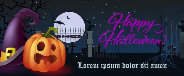 Happy halloween schriftzug. hexenhut und kürbis auf friedhof