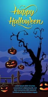 Happy halloween schriftzug. jack o-laternen, die am trockenen baum hängen