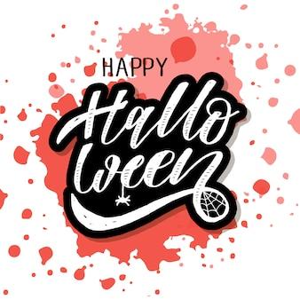 Happy halloween schriftzug kalligraphie text
