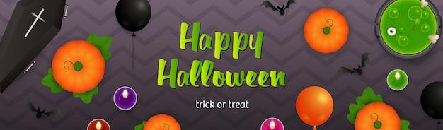 Happy halloween schriftzug, kessel mit trank und kürbisse
