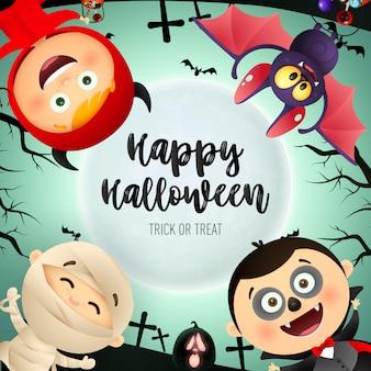 Happy halloween schriftzug, kinder in monster kostümen, fledermaus