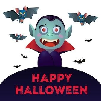 Happy halloween-schriftzug mit dracula und fledermäuse
