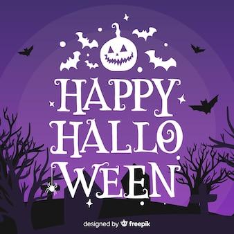 Happy halloween schriftzug mit fledermäusen