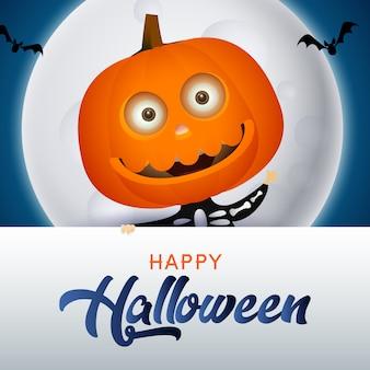 Happy halloween schriftzug mit kürbis charakter