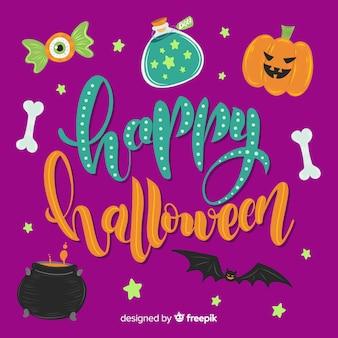 Happy halloween-schriftzug mit kürbis und knochen