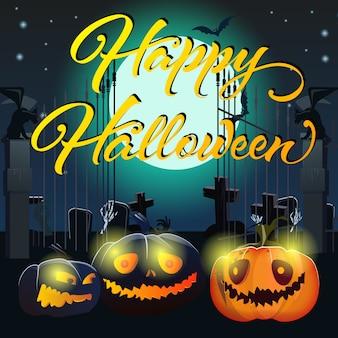 Happy halloween-schriftzug mit kürbissen und friedhof