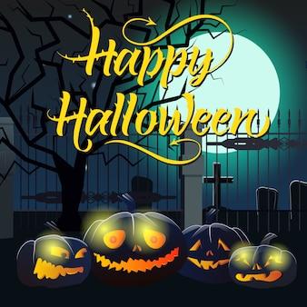 Happy halloween-schriftzug mit mond, kürbissen und friedhof