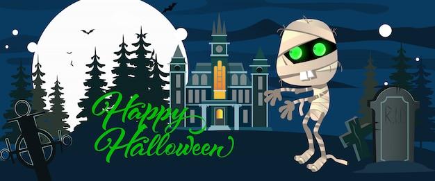 Happy halloween-schriftzug mit mumie, friedhof und burg