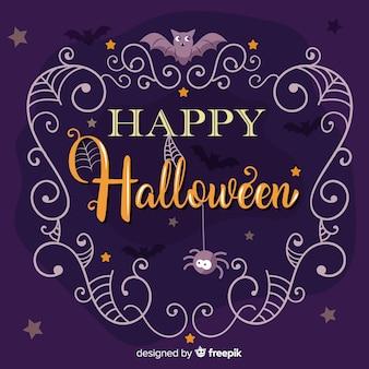 Happy halloween schriftzug mit spinnen