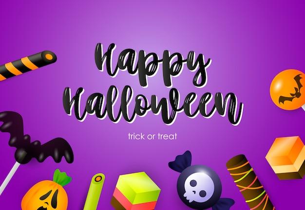 Happy halloween-schriftzug mit süßigkeiten und feiertagsattributen