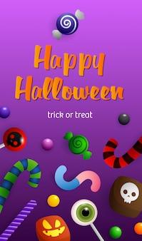 Happy halloween-schriftzug mit süßigkeiten und zuckerstangen
