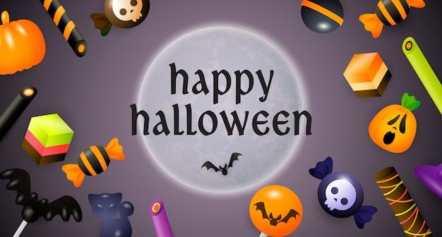 Happy halloween schriftzug, mond, süßigkeiten und bonbons