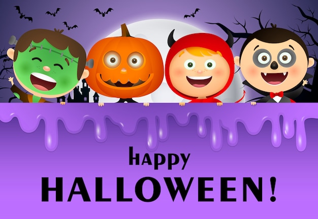 Happy halloween schriftzug, mond und kinder in kostümen
