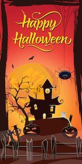 Happy halloween schriftzug. spukhaus, kürbisse und spinne