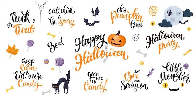 Happy halloween-schriftzug und cartoon-elemente eingestellt. handgeschriebener text mit beliebten halloween-zitaten. vektordesign für banner, karten, poster, flyer und partyeinladungen