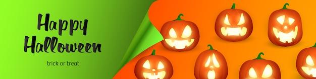 Happy halloween schriftzug und jack o laternen