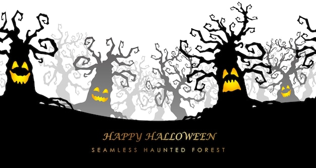 Happy halloween seamless haunted forest illustration