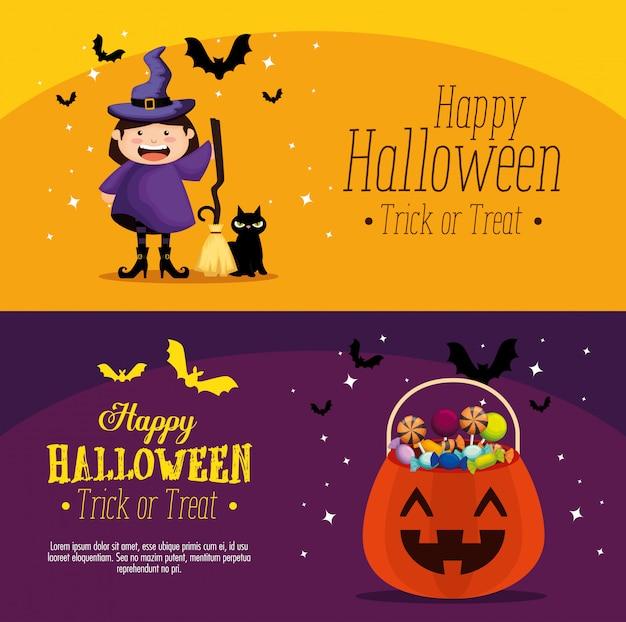 Happy halloween set banner gesetzt