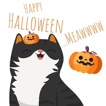 Happy halloween smiling schwarze katze mit kürbis.