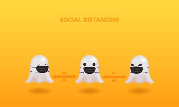 Happy halloween soziale distanzierungstipps. netter geist, der gesichtsmaske trägt