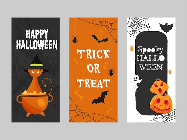 Happy halloween spooky und trick or treat template design in drei farboptionen