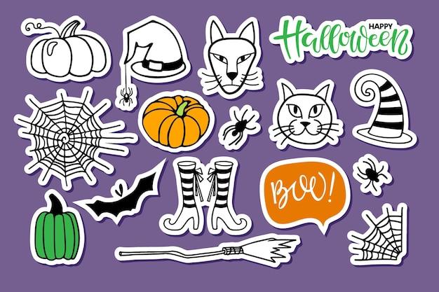 Happy halloween sticker set vector handgezeichnete skizze halloween schriftzug spinnennetz hexe katzen Premium Vektoren