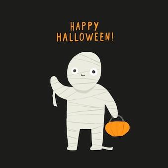 Happy halloween süße mama charakter vektor handgezeichnete illustration