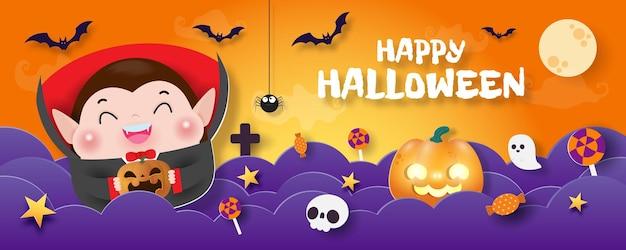 Happy halloween süßes oder saures banner papierschnitt stil dracula vampir hintergrund spaß party