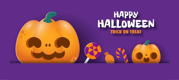 Happy halloween süßes oder saures banner papierschnitt stil hintergrund spaß party vektor illustration