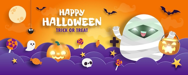 Happy halloween süßes oder saures banner papierschnitt stil mumie hintergrund spaß party