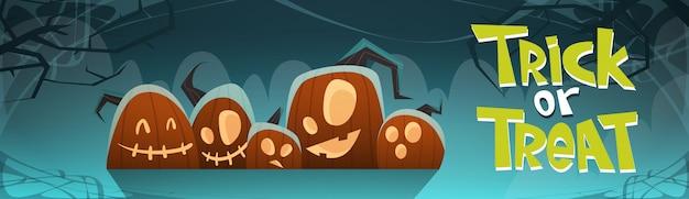 Happy halloween süßes oder saures banner verschiedene kürbisse traditionelle dekoration