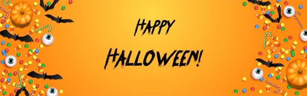 Happy halloween süßes oder saures banner vorlage mit gruseligen luftballons und halloween-elementen