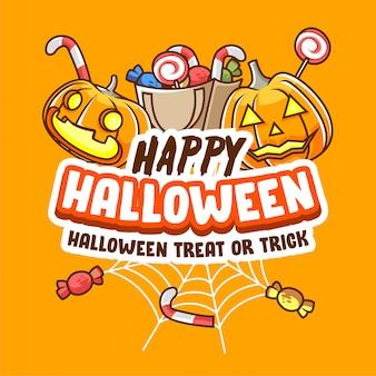 Happy halloween süßes oder saures party banner poster für social media-