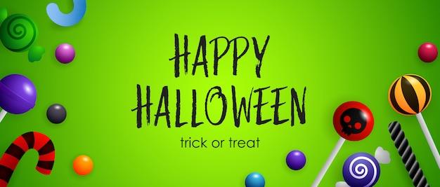 Happy halloween, süßes oder saures schriftzug mit süßen süßigkeiten