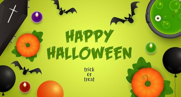 Happy halloween, süßes oder saures schriftzug mit trank und fledermäusen