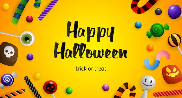 Happy halloween, süßes oder saures schriftzug und süßwaren
