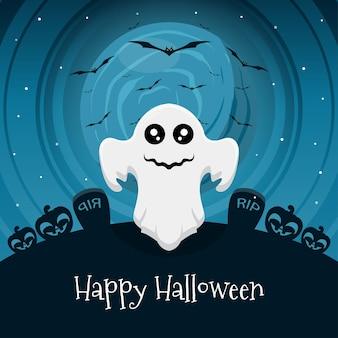 Happy halloween-tageskonzept mit geisterillustration