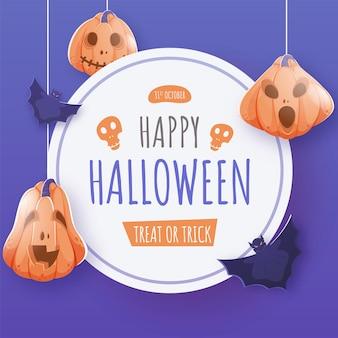 Happy halloween treat or trick text auf weißem kreisförmigen rahmen mit fliegenden fledermäusen und hängenden jack-o-laternen.