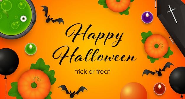 Happy halloween, trick or treat schriftzug, kessel mit trank