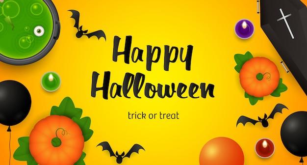 Happy halloween, trick or treat schriftzug, kessel und fledermäuse
